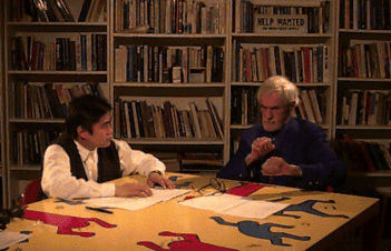 <p>Scheming with Timothy Leary in 1995</p>