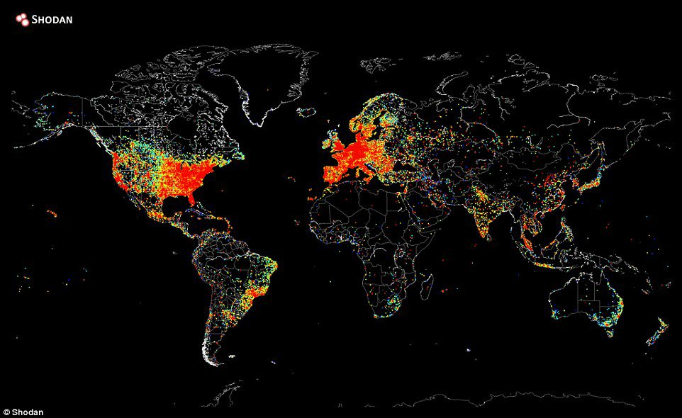 <p>This is a ping on every internet device on the world, in one day.</p>