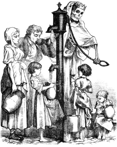 "<p><a href=""#c11247_001.xhtml#fig_005a"">Figure 1.5</a> In this mid-nineteenth-century illustration, Death is recruiting local children by pumping contaminated water from a communal pump, the kind that provided household water for most residents of London.</p>"
