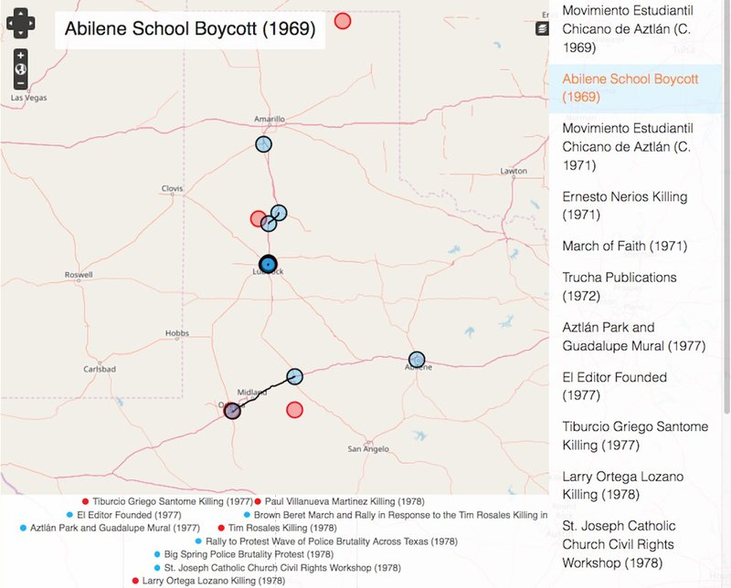 <p>Interactive timeline of the Chicana/o Civil Rights Movement on the website <em>Chicano Activism in the Southern Plains through Time and Space</em>, http://plainsmovement.com. Visitors can click directly on the events to get a description, or they can study the chronological list of events on the right side of the page or the interactive timeline on the bottom of the page.</p>