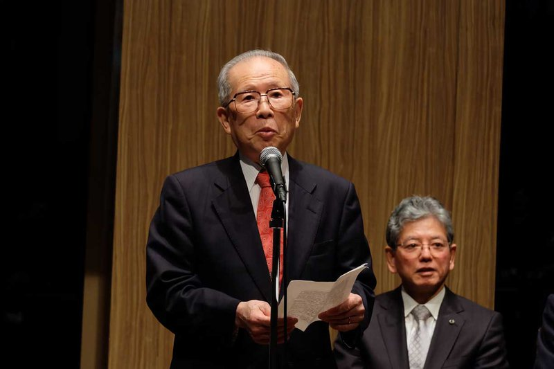 Hiroshi Kamimura, speaking in Millie's honor, 2016.  Photo courtesy of R. Saito