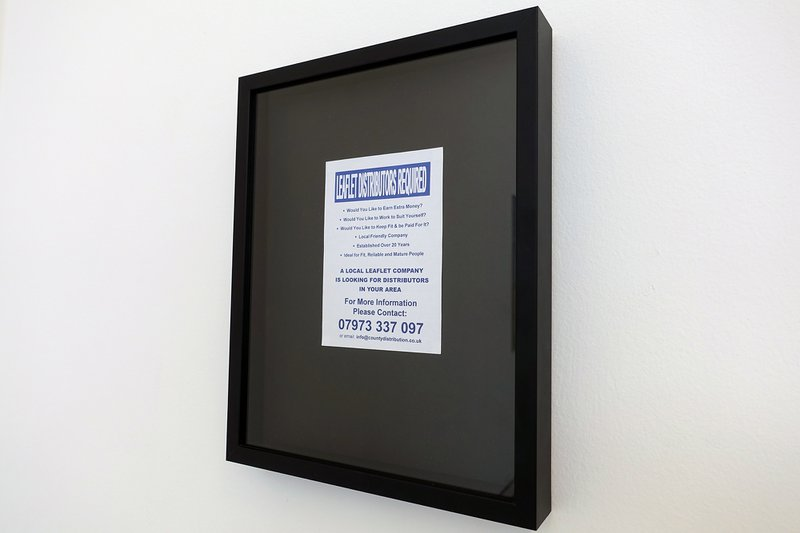 Bill Balaskas, Distributor, 2016. Framed leaflet, 32 x 25.5 cm. Curator: Lanfranco Aceti. © Bill Balaskas. Courtesy of the artist.