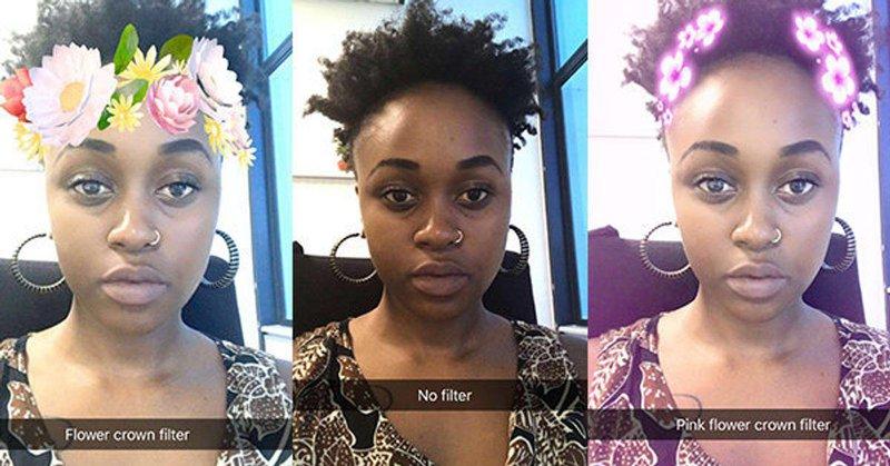 <p>Various Snapchat filters lightening a user's skin. <em>Source: Huffpost UK.</em></p>