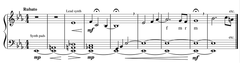 """<p>Figure 3. Piano reduction of Vangelis' """"Opening Titles"""" from Blade Runner (begins at 00:03:13).</p>"""