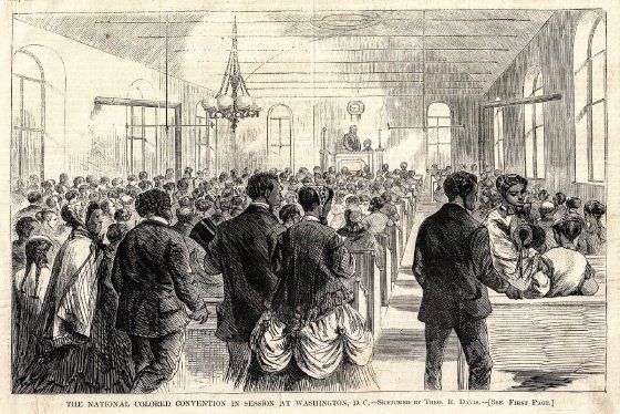 <p>Figure 4.9: An engraving of an 1869 Colored Convention, published in <em>Harper's Weekly,</em> showing men at the podium and women seated and standing in the rear. Image courtesy of Jim Casey.</p>