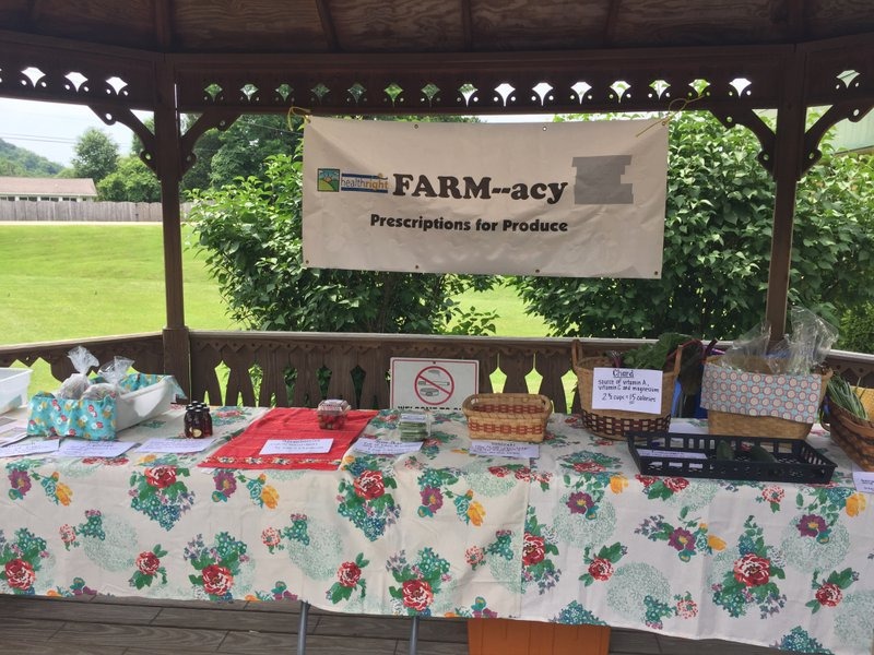 <p>Mid set-up for the kick-off of one of the FARMacy sites. The gazebo and table settings give a farmers market feel, and serve as a place for participants, growers, and clinicians to chat before, during, and after produce pick up. Photo Credit: Alanna Higgins, 2018.</p>