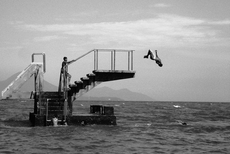 "<p><em>""Jump on the Water,"" 2007, digital black and white photograph, 2587 x 1733 pixels, Emanuela Franco</em></p>"