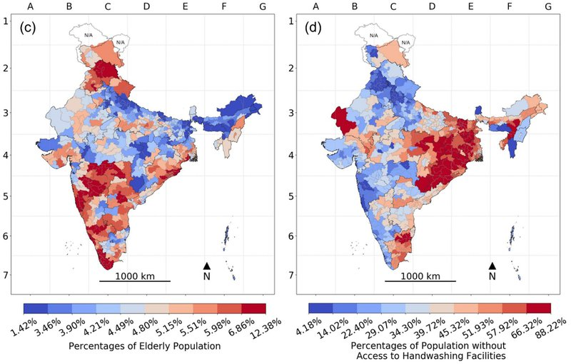 <p><strong>Figure 9. Parliamentary Constituencies in India, 2016: </strong>(a) Population density (persons/square kilometer) and (b) percent crowding. (c) percent elderly population and (d) percent population without access to handwashing facilities.</p><p><strong>Note</strong>: The color gradient of darkest blue to darkest red represents the decile distribution from the lowest to the highest on the risk correlate; areas with unavailable data are marked N/A on the map.</p>