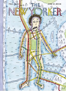 """<p><a href=""""#c11247_007.xhtml#fig_002a"""">Figure 7.2</a> This <em>New Yorker</em> cover presents New York City as a body whose circulatory system comprises the rail and subway lines that run through its body. They, in turn, join the city to the greater world, across bridges that are also transit carriers. Courtesy the <em>New Yorker</em>.</p>"""