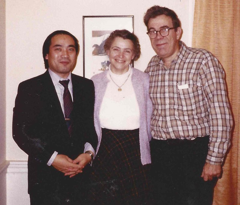 Gene, Millie, and Morinobu Endo at the Dresselhaus' home in Arlington.  Photo courtesy of Dresselhaus Family