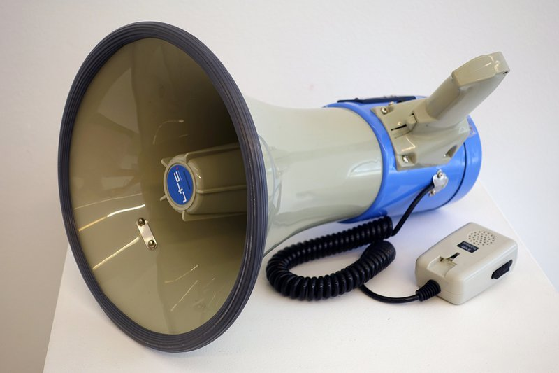 Bill Balaskas, Megaphone (cicadas), 2016. Sound installation: megaphone, USB stick with mp3 file, dimensions variable. Curator: Lanfranco Aceti. © Bill Balaskas. Courtesy of the artist.