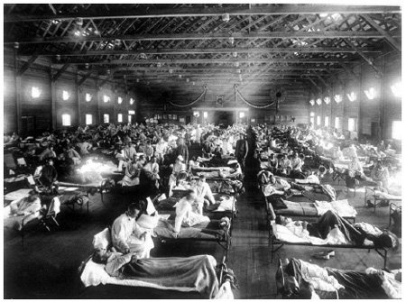 <p><strong>Fig. 2.16</strong><br>Emergency hospital during the 1918 influenza pandemic at Camp Funston, Kansas. Image 1603, National Museum of Health and Medicine, Washington, D.C.</p>