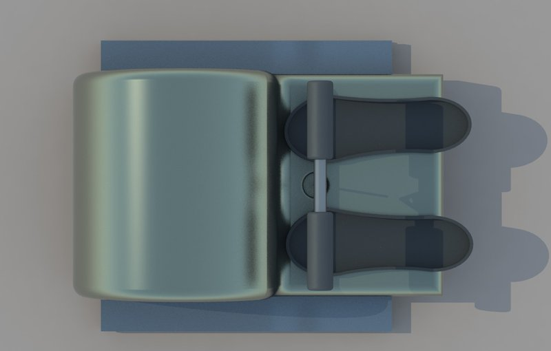 Top view of the rowing ergometer.