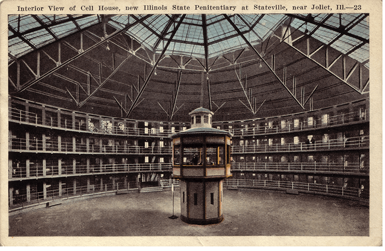 <p>Figure 11.3</p><p>Statesville Prison in Illinois is one of many prisons built on a panoptic model. A single guard in the center tower could watch hundreds of prisoners in their surrounding cells.</p>