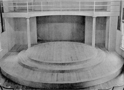 <p>Figure 2 Stage of Moreno's 'therapeutic theatre' in Beacon, New York. 'There are three concentric levels to the stage', Morenowrites, 'with a fourth level provided by the balcony. These levels permit great scope for movement and the expression of distances as well as providing means for the indicating of differences in psychological stages of the actors' (Moreno 1937, pp. 16 Á 17) cited in (Lezaun, Muniesa, &amp; Vikkelsø, 2013)</p>