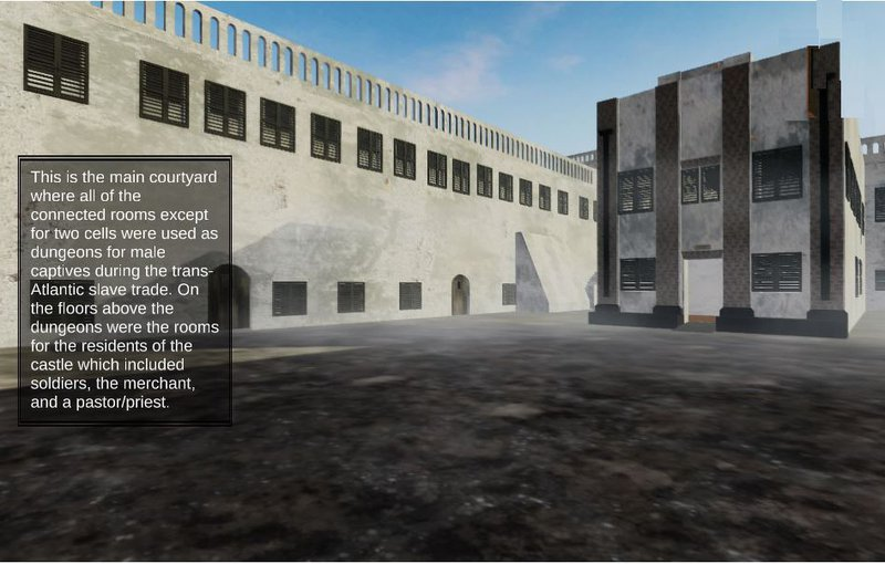 """<p>First person view of the original 1482 courtyard.  All of the connected rooms except for two prison cells were dungeons holding captives for the slave trade. Above the dungeons large rooms provided quarters the European soldiers, merchants, government officials, and a pastor/priest.""""</p>"""