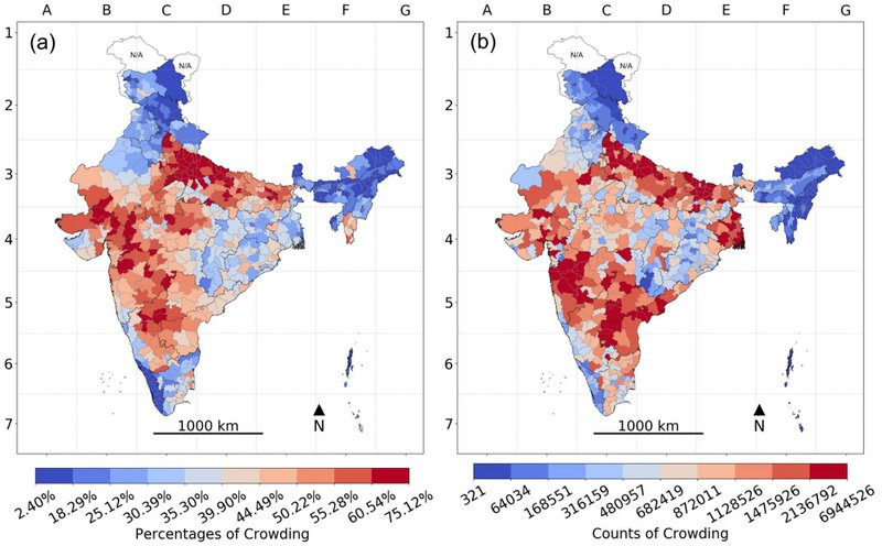 <p><strong>Figure 6. Household Crowding</strong> <strong>across Districts in India, 2016:</strong> (a) Percentage population exposed to crowding and (b) their absolute counts.</p><p><strong>Note</strong>: The color gradient of darkest blue to darkest red represents the decile distribution from the lowest to the highest on the risk correlate; areas with unavailable data are marked N/A on the map.</p>