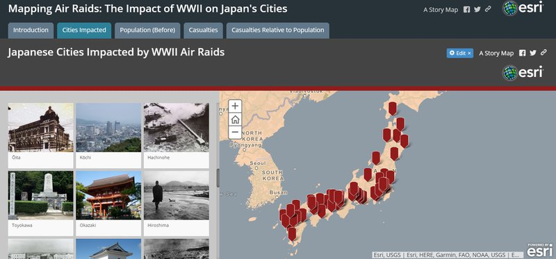"<p>Storymap tab ""Cities Impacted"": A gallery images depicting each city attacked next to a map of all Japanese cities that were bombed.</p>"