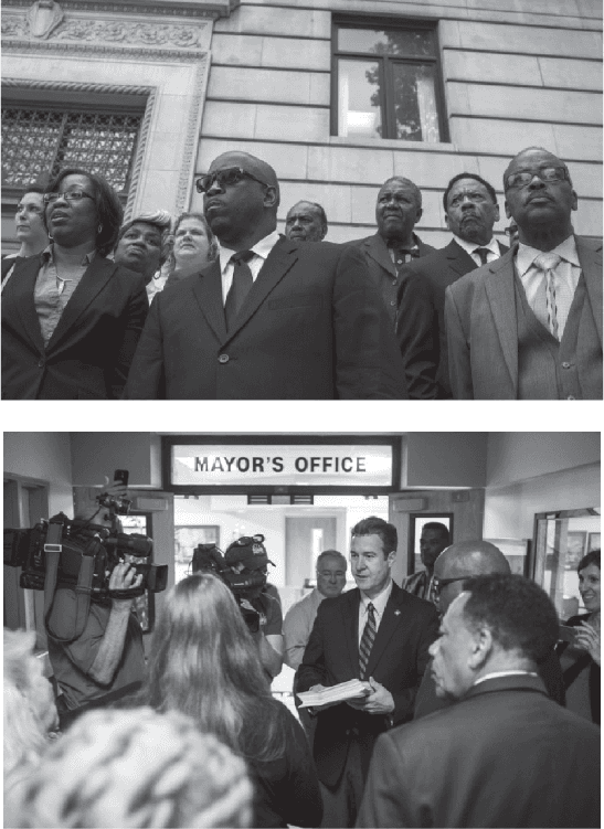 <p>Figure 6.4<br>(Top) Coalition for Clean Water files suit seeking return to Detroit water.<br>(Bottom) Delivery of petitions to Mayor Dayne Walling. <em>MLive, Flint Journal.</em></p>