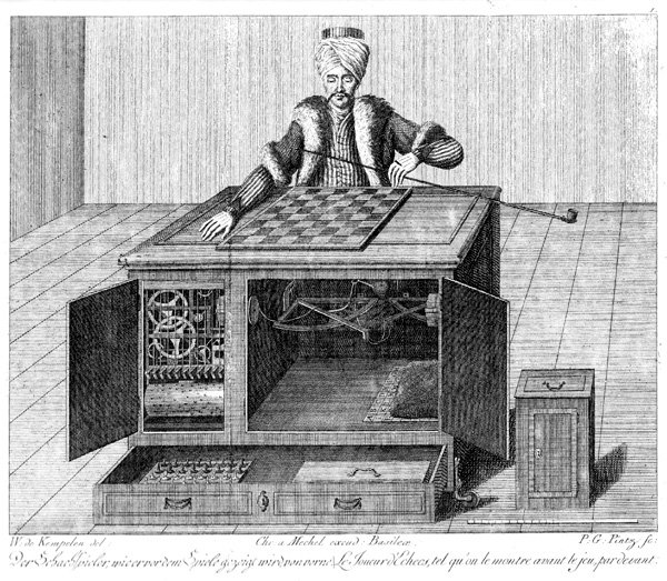 "<p>Amazon Mechanical Turks are named after the Mechanical Turk or Automaton Chess Player, a fake chess-playing machine constructed in the late 18th century. The contemporary Mechanical Turks work as freelancers to perform tasks instead of computers, often in small amounts of piecework, negotiated on crowdsourcing web-services system owned by Amazon. Karl Gottlieb von Windisch - Copper engraving from the book: ""Karl Gottlieb von Windisch, Briefe über den Schachspieler des Hrn. von Kempelen, nebst drei Kupferstichen die diese berühmte Maschine vorstellen"", 1783.</p>"