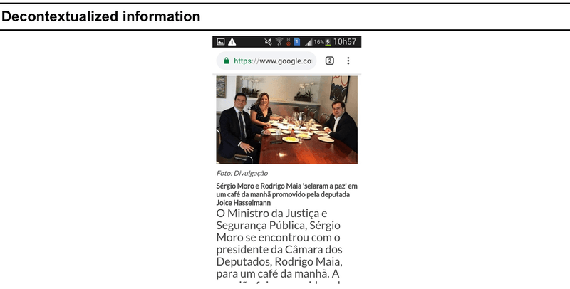 """<p>Figure: A true headline and image showing former Minister of Justice Sergio Moro having breakfast with the President of Lower Chamber Rodrigo Maia and deputy Joyce Hasselmann. Hasselmann is a former ally who fell out with Bolsonaro. Maia is a center-right deputy with whom Bolsonaro has fallen out with a few times also. The image gives the impression that the meeting occurred just after Moro's resignation to his position. But in fact, it occurred one year before, when all of the three were still aligned with Bolsonaro's government.</p><p class=""""p2""""><br></p><p class=""""p1"""">Source: coLAB Research Laboratory database.</p>"""