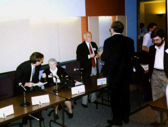 Millie and Gene with Rick Smalley at the nanotube conference at Rice University, 1997