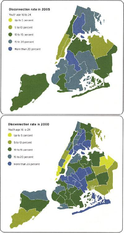 """<p><a href=""""#c11247_006.xhtml#fig_003a"""">Figure 6.3</a> Maps of New York City's """"disconnected youth""""—those not in school and out of work—correlate with poverty rates and school lunch program rates in New York City. Courtesy Community Service Society of New York and United Way of New York City.</p>"""