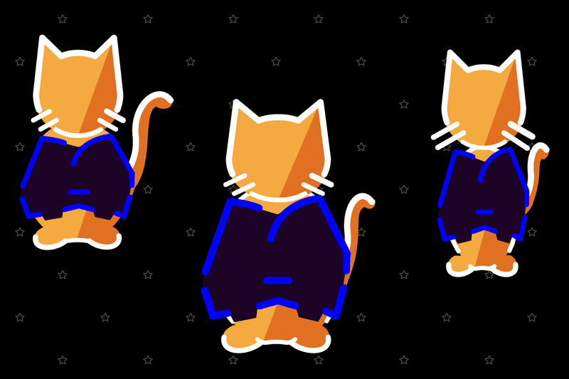 <p>Three different-sized cats wearing different sized coats: small, medium, and large.</p>