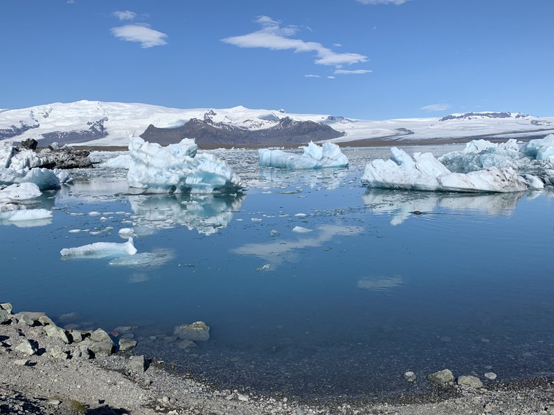 "<p>Jokulsarlon</p><p>""We stopped at the lake called Jokulsarlon, where the farthest end of a great glacier crumbled into colored hunks of ice.""</p>"