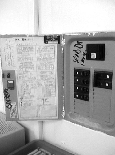 <p>Figure 1.8 Fonce Woddy's tag on the classroom's circuit breaker box</p>