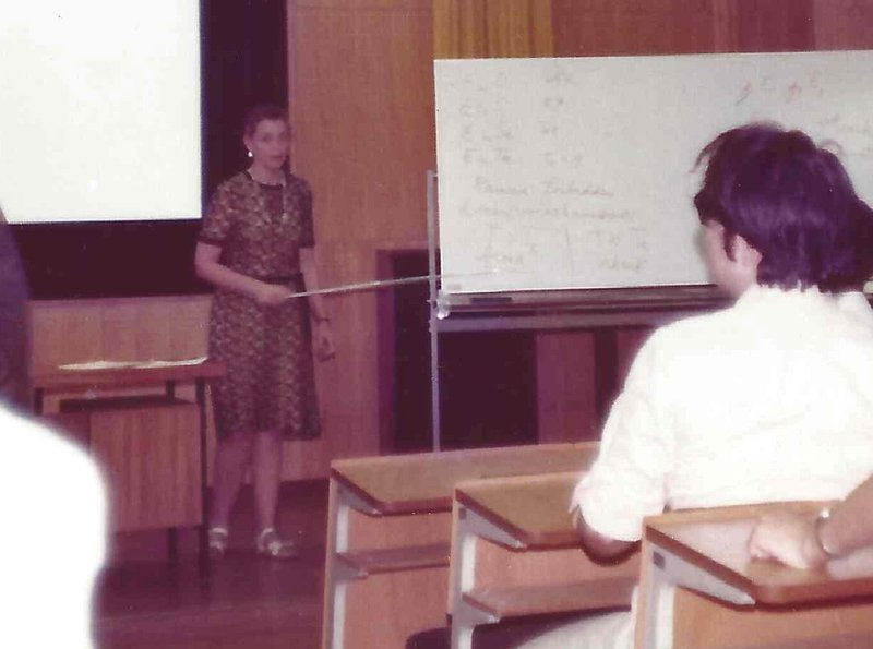 Millie lectures in Japan. Photo courtesy of Dresselhaus Family