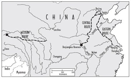 <p><strong>Fig. 3.18</strong><br>Three routes for China's south-north water transfer. The eastern and central routes are under construction; the planned western route would be expensive and difficult to construct. Based on Smil (2004) and Stone and Jia (2006).</p>