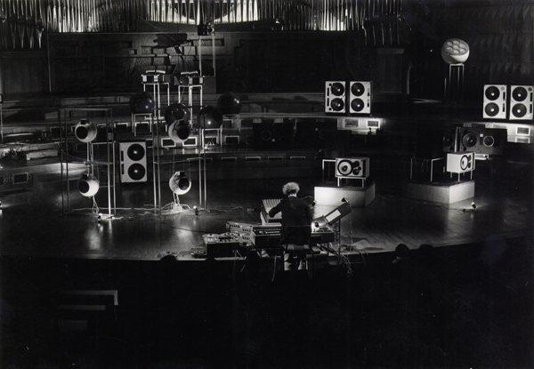 <p>Francois Bayle performing at Acousmonium invented in 1974. Photo courtesy of Joel Chadabe via&nbsp;GRM.</p>