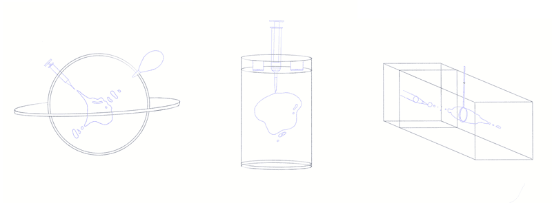 <p><em>Initial sketches of potential containers: sphere, cylinder, and rectangular prism.</em></p>