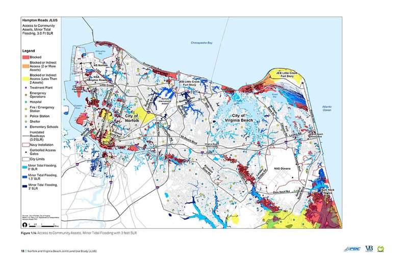 Flooding will block access to a wide range of community assets in Norfolk and Virginia Beach. This map is an early step in Hampton Roads' regional adaptation planning involving municipalities and local installations. Source: Norfolk and Virginia Beach Joint Land Use Study, AECOM.