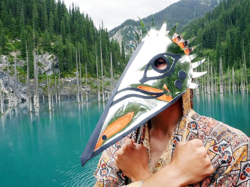 <p><em>The Obstinate</em>. Photographed by Marisa Morán Jahn, 2018.</p><p>Mask by Jahn with Sydney Lee featuring Sultan Kusherbayev; photo assistance: Yerke Abuova.</p><p>Photographed at Lake Kaindy, Kazakhstan</p>