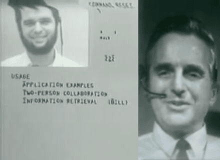 Stills from The Mother of All Demos, presented in San Francisco by Doug Engelbart (right) in 1968.