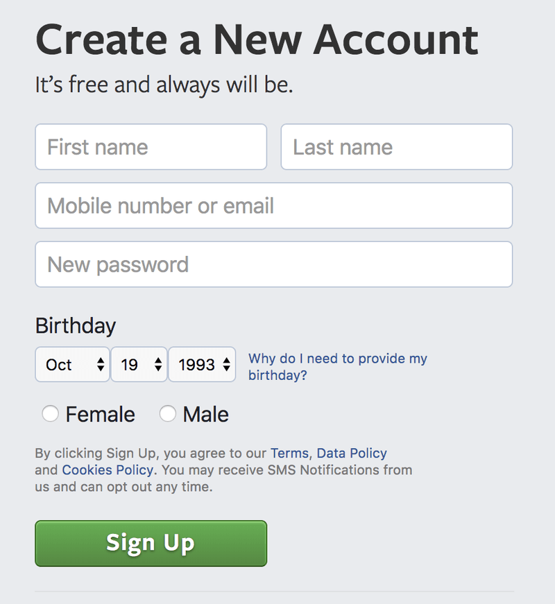 <p>Detail of the Facebook new account creation page, ca. 2018.</p><p>Credit: Facebook. Screenshot by Lauren Klein.</p><p>Source: http://www.facebook.com/</p>