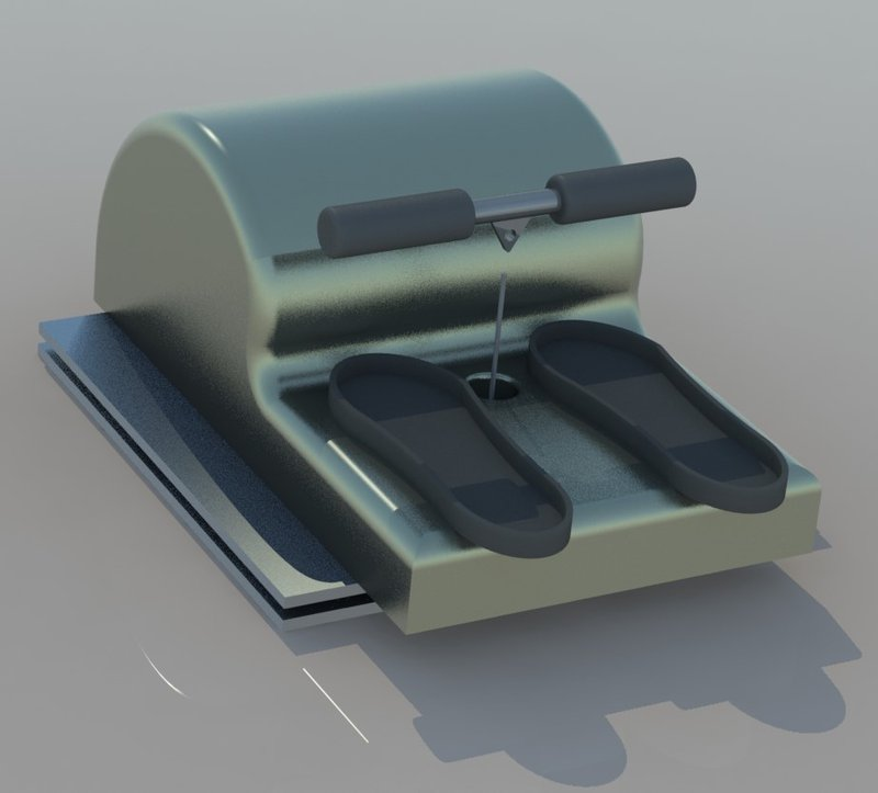 Isometric view of the rowing ergometer.
