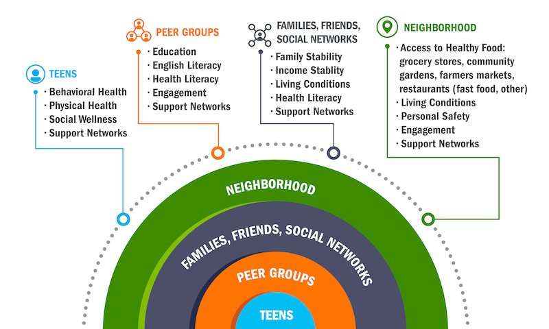 <p><strong>Figure 3. Data Map.</strong> The data map highlights the types of data desired for the study and is used as a guide for data discovery. The lists are social determinants and physical infrastructure that could affect teen behaviors. The map highlights the various units of analysis that will need to be captured and linked in the analyses. These include individuals, groups and networks of individuals, and geographic areas.</p>
