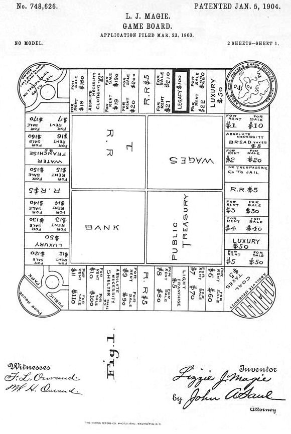 <p>Figure 26: The first patent drawing for Lizzie Magie's board game, <em>The Landlord's Game</em>, dated January 5, 1904.</p>