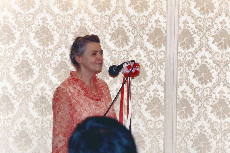 May 27, 1985. Millie gives the opening address to the Tsukuba EXPO