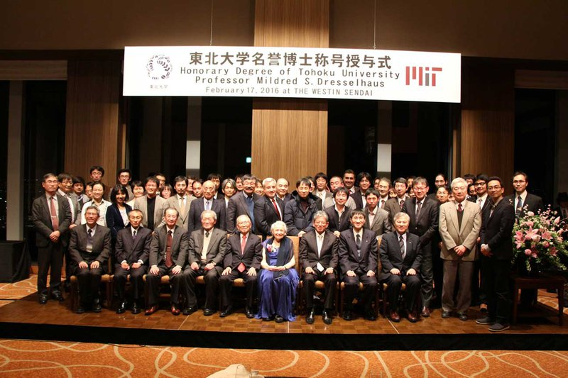 This ceremony was held in Westin Hotel Sendai on February 17, 2016. I was very honored to attend.  The group photo after the ceremony is shown above.  To Millie's right is the President of Tohoku University, Prof. Susumu Satomi, and to Millie's left is me.
