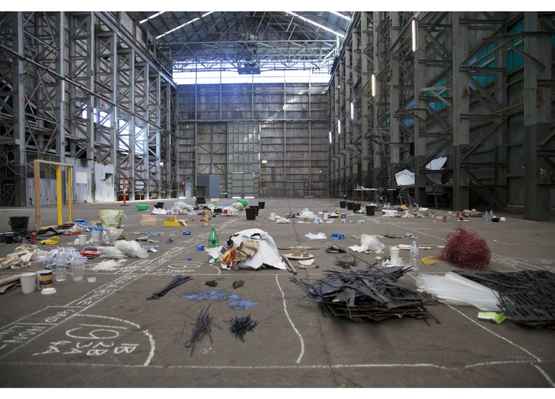 Figure 1. View of Turbine Hall sorting bays, Assemblage I, Underbelly Arts Lab, Cockatoo Island, July 2013. Documentary Photograph. © Assemblage, 2013. Courtesy of Simone Mandl.