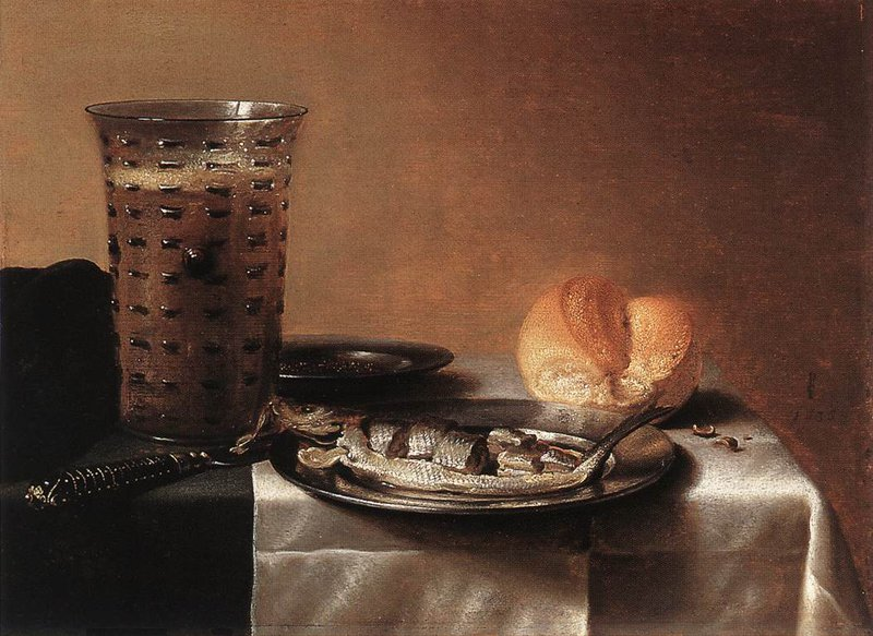 """<p class="""""""">""""Still Life with a Glass of Beer and Smoked Herring on a Plate"""" by Pieter Claesz (Netherlands), 1636</p>"""