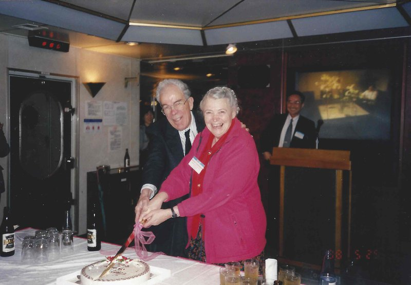 Millie and Gene celebrate their anniversary at a Thermoelectrics Conference. Photo courtesy of the Dresselhaus Family