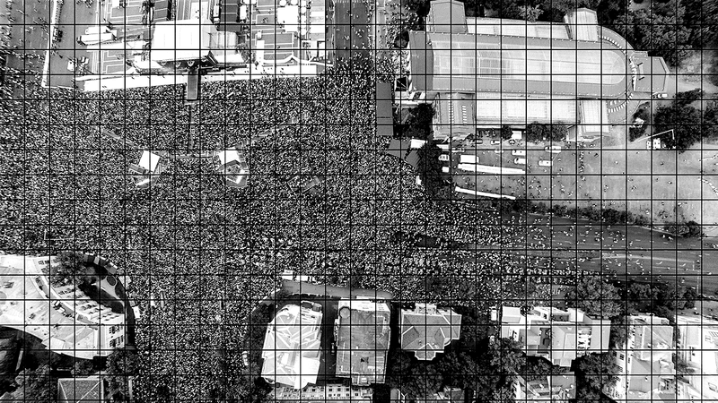 <p>Figure 3.1 Using drone-based digital imagery to better estimate the size of large crowds (author image).</p>
