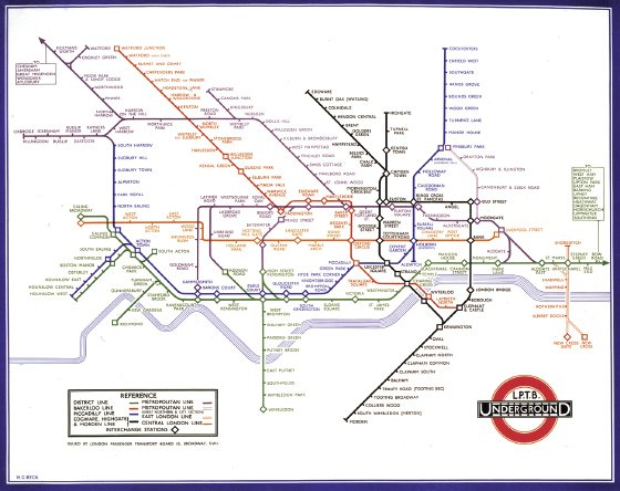 """<p><a href=""""#c11247_007.xhtml#fig_003a"""">Figure 7.3</a> The original 1933 version of the London Underground map designed by Harry Beck, a map whose features have been widely copied for use by transit systems around the world. Courtesy London Transport Museum.</p>"""