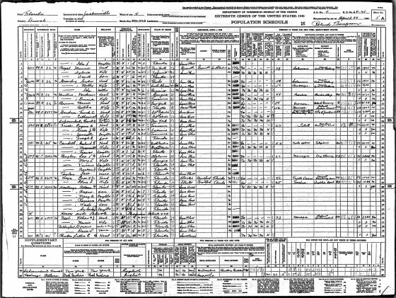 <p>Figure 3.7 Image of a 1940 preprinted census table; note the more extensive data fields.</p>