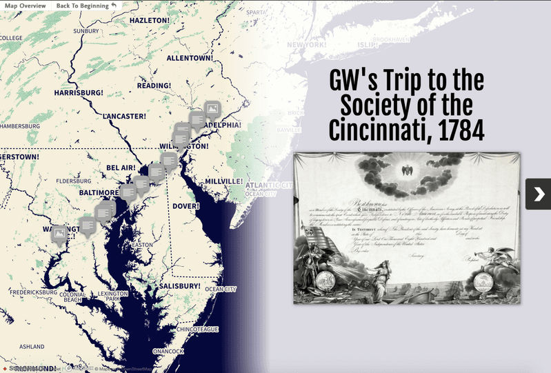 <p>Screen capture of the StoryMap's cover page, featuring each stop in George Washington's journey and a Society of the Cincinnati certificate.</p>